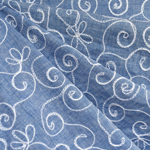 Scroll Floral Embroidered Chambray Shirting Blue/White