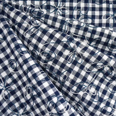 Scroll Floral Embroidered Gingham Shirting Indigo/Blues