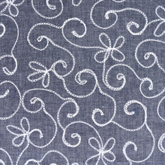 Scroll Floral Embroidered Chambray Shirting Indigo/White - Fabric - Style Maker Fabrics