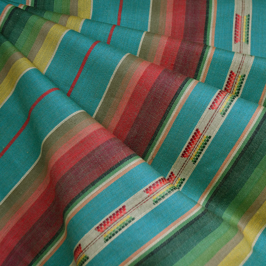 Southwest Inspired Woven Stripe Shirting Turquoise - Fabric - Style Maker Fabrics