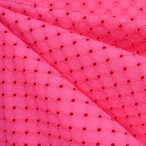 Hexagon Geometric Cotton Eyelet Fuchsia