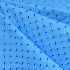 Hexagon Geometric Cotton Eyelet Sky Blue - Fabric - Style Maker Fabrics