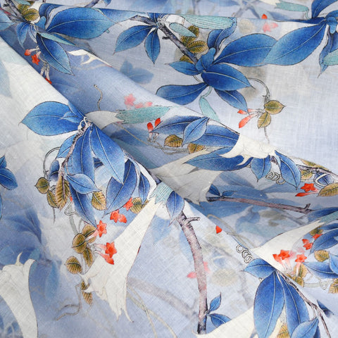 Japanese Trumpet Floral Digital Print Linen Shirting Blue