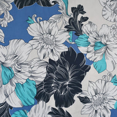 Floral Outline Color Block Stretch Sateen Periwinkle/Aqua - Fabric - Style Maker Fabrics