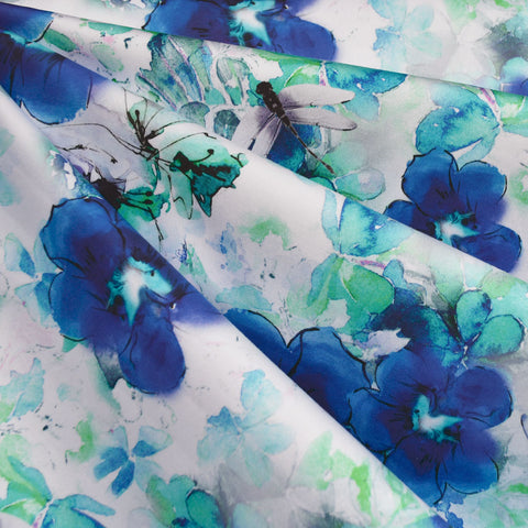 Watercolor Dragonfly Floral Digital Print Stretch Sateen Blue/Aqua SY