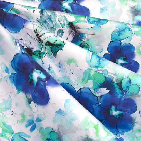 Watercolor Dragonfly Floral Digital Print Stretch Sateen Blue/Aqua