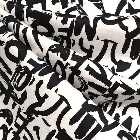 Abstract Brushstroke Graffiti Stretch Sateen Cream/Black
