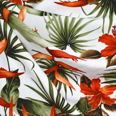 Hawaiian Foliage Rayon Poplin Shirting White