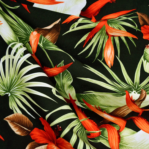 Hawaiian Foliage Rayon Poplin Shirting Black