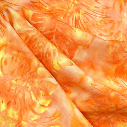 Tropical Leaves Rayon Batik Orange