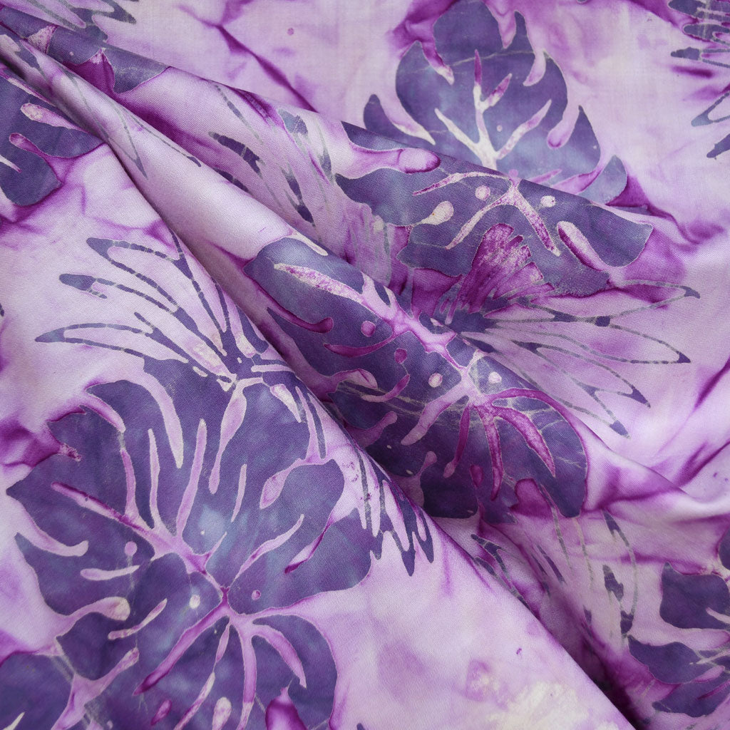 Tropical Leaves Rayon Batik Purple - Fabric - Style Maker Fabrics