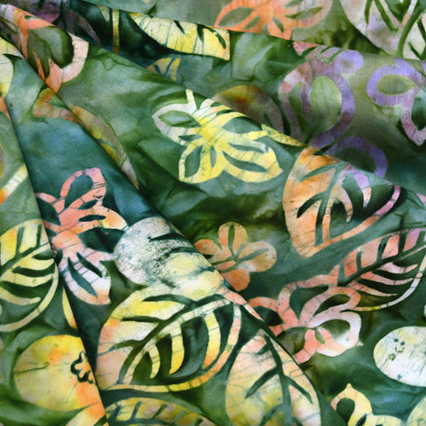 Jungle Floral Rayon Batik Green