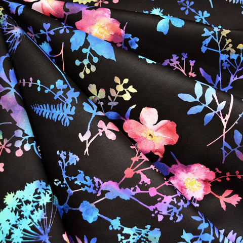 Spectrum Floral Digital Print Cotton Black/Multi