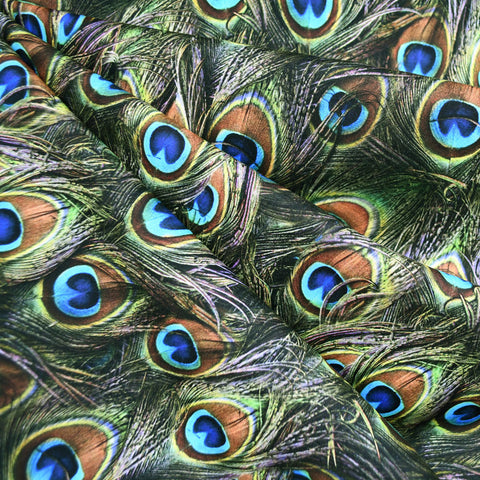 Proud Peacock Feathers Digital Print Cotton Olive