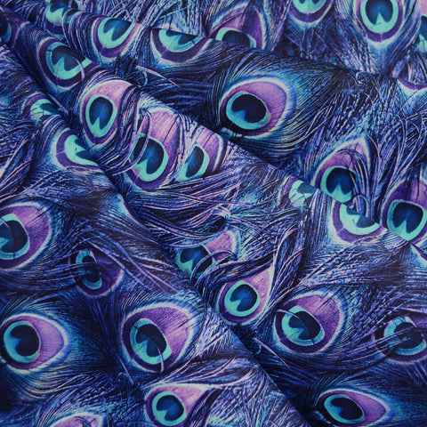 Proud Peacock Feathers Digital Print Cotton Purple