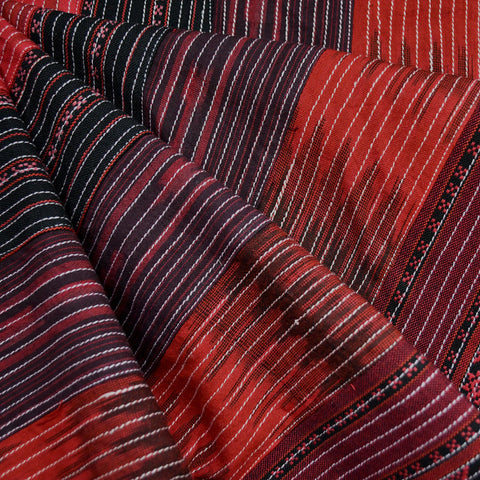 Stitched Ikat Stripe Patchwork Crimson/Black