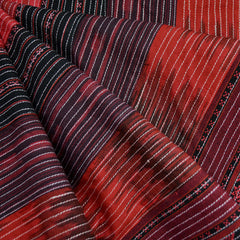 Stitched Ikat Stripe Patchwork Crimson/Black - Fabric - Style Maker Fabrics