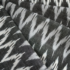 Tonal Chevron Ikat Shirting Black/Grey/Vanilla - Fabric - Style Maker Fabrics