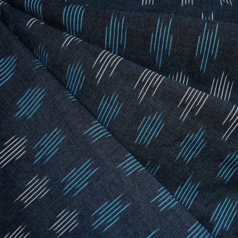 Modern Stripe Ikat Shirting Navy/Aqua/White