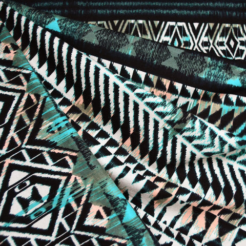 Large Scale Geometric Stripe Cotton Jersey Black/Aqua SY