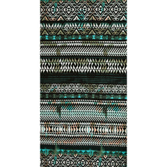 Large Scale Geometric Stripe Cotton Jersey Black/Aqua SY - Selvage Yard - Style Maker Fabrics