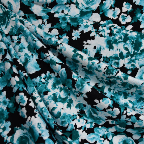 Tonal Layered Floral Rayon Jersey Black/Teal