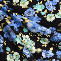 Rose Floral Cotton Jersey Black/Blue - Fabric - Style Maker Fabrics