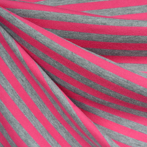 Pencil Stripe French Terry Heather Grey/Fuchsia