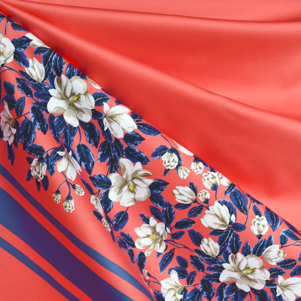 Designer Magnolia Stripe Stretch Sateen Panel Coral/Periwinkle - Fabric - Style Maker Fabrics