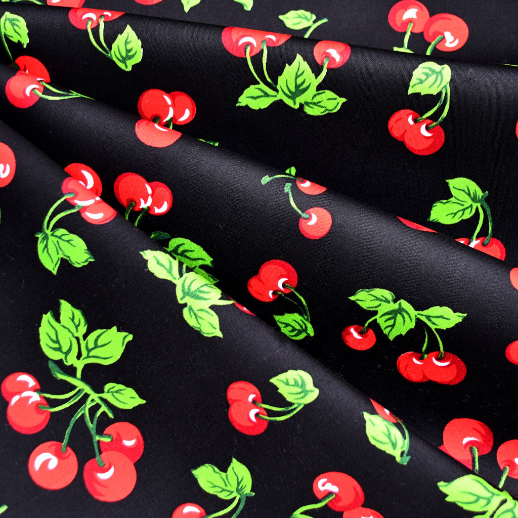 Summer Cherry Stretch Sateen Black/Red - Fabric - Style Maker Fabrics