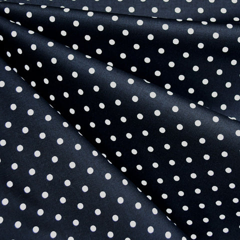 Polka Dot Stretch Sateen Navy/White
