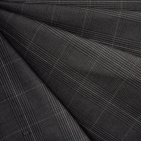 Yarn Dyed Plaid Stretch Twill Charcoal
