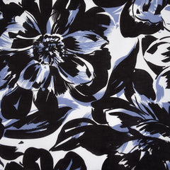 Large Scale Floral Cotton Voile Periwinkle/Black SY - Selvage Yard - Style Maker Fabrics
