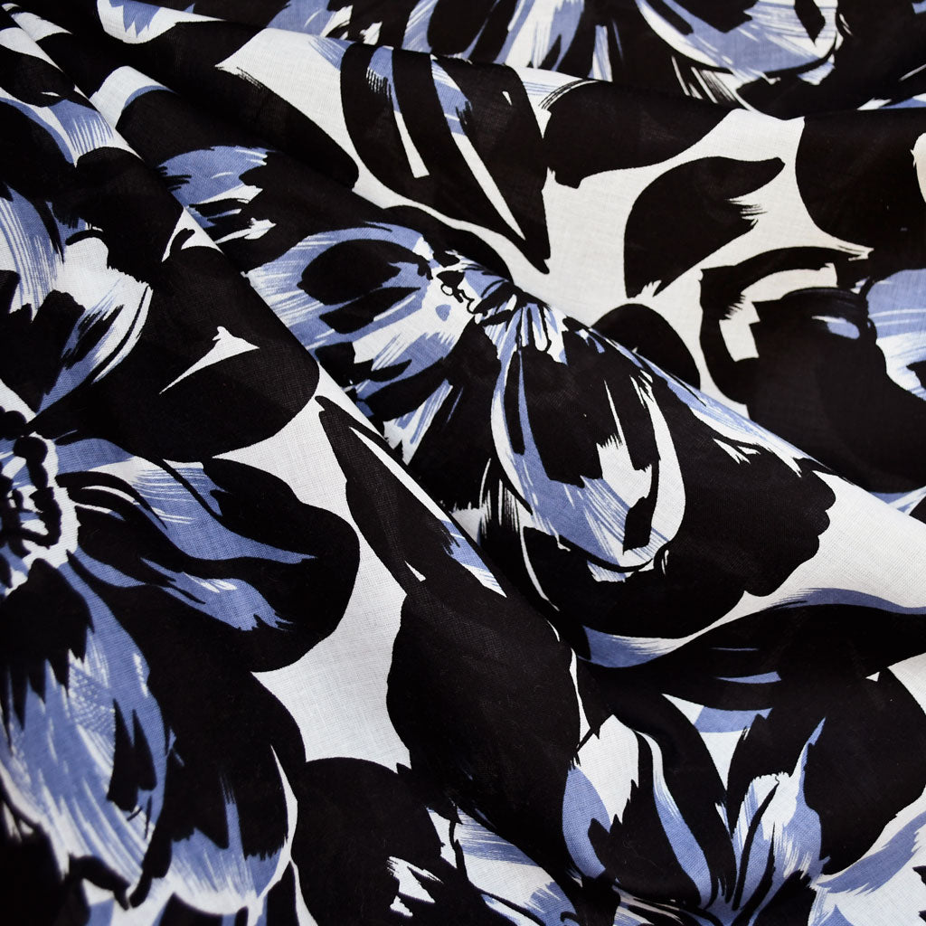 Large Scale Floral Cotton Voile Periwinkle/Black - Fabric - Style Maker Fabrics
