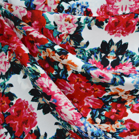 Kaleidoscope Floral Poly Crepe Vanilla/Magenta