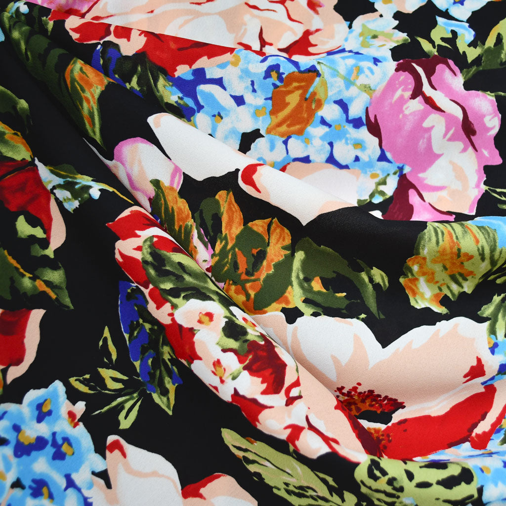 Large Scale Garden Floral Poly Crepe Black/Multi - Fabric - Style Maker Fabrics