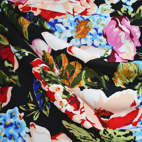 Large Scale Garden Floral Poly Crepe Black/Multi