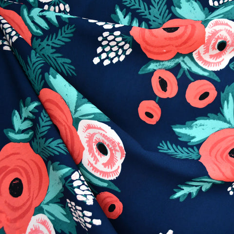 Artistic Poppy Floral Poly Crepe Navy/Coral