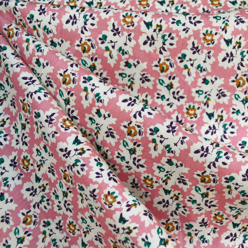 Vintage Ditsy Floral Rayon Challis Rose - Fabric - Style Maker Fabrics