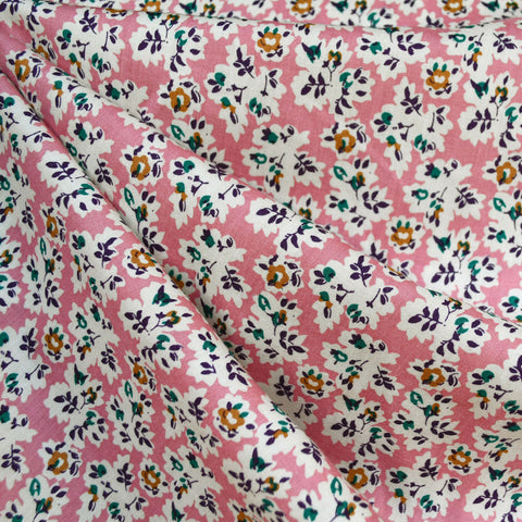 Vintage Ditsy Floral Rayon Challis Rose