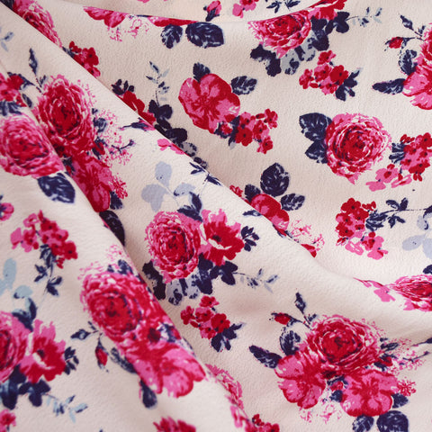 Romantic Rose Bouquet Rayon Crepe Blush/Fuchsia
