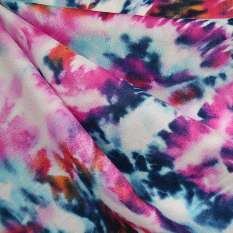 Marble Hand Dyed Rayon Crepe Magenta/Blue