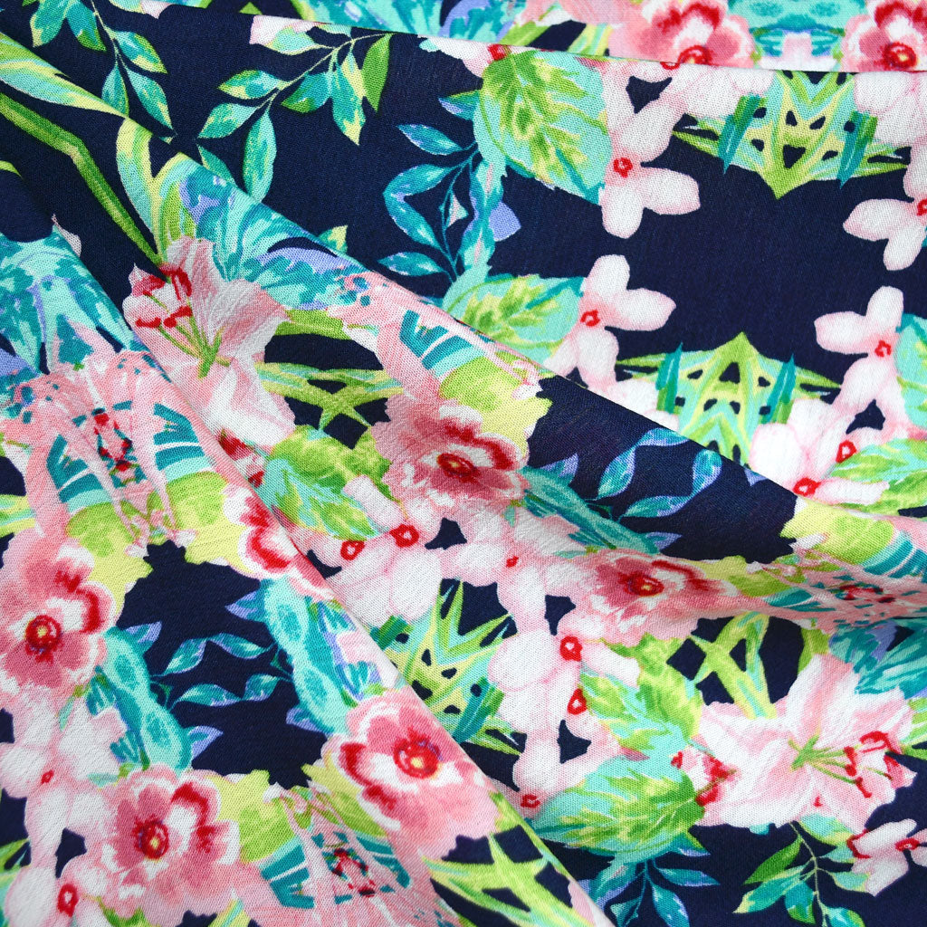 South Beach Floral Rayon Crepe Navy/Coral SY - Sold Out - Style Maker Fabrics