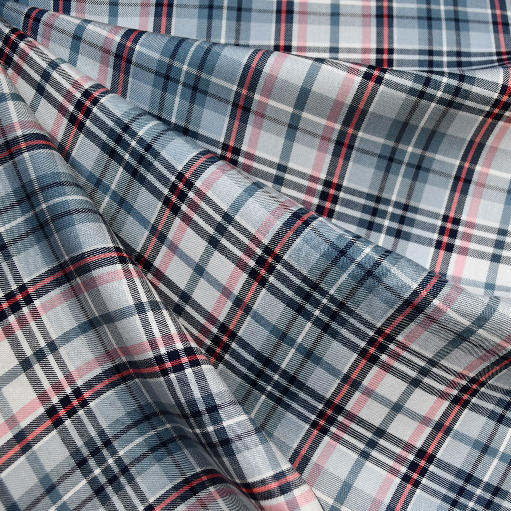 Spring Plaid Rayon Shirting Denim/Coral SY - Sold Out - Style Maker Fabrics