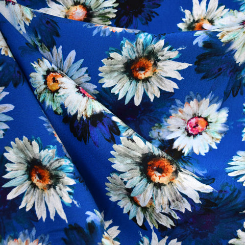 Layered Daisy Digital Print Rayon Crepe Royal