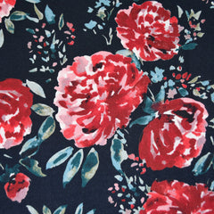 Brushstroke Blooms Rayon Crepe Navy/Red - Fabric - Style Maker Fabrics