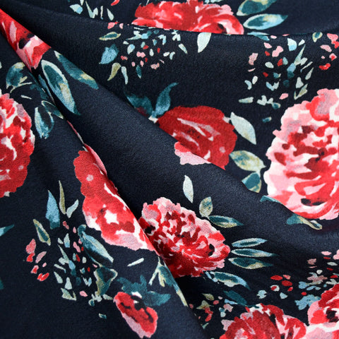 Brushstroke Blooms Rayon Crepe Navy/Red