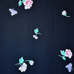 Vintage Single Border Romantic Floral Rayon Crepe Navy - Sold Out - Style Maker Fabrics