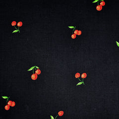 Cherry Picked Rayon Challis Black - Sold Out - Style Maker Fabrics
