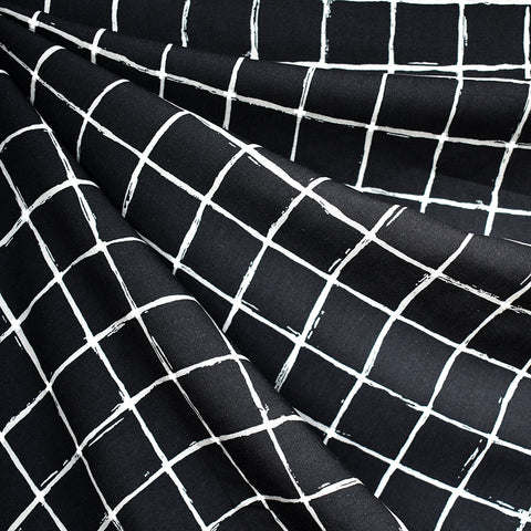Wide Windowpane Check Rayon Black/White